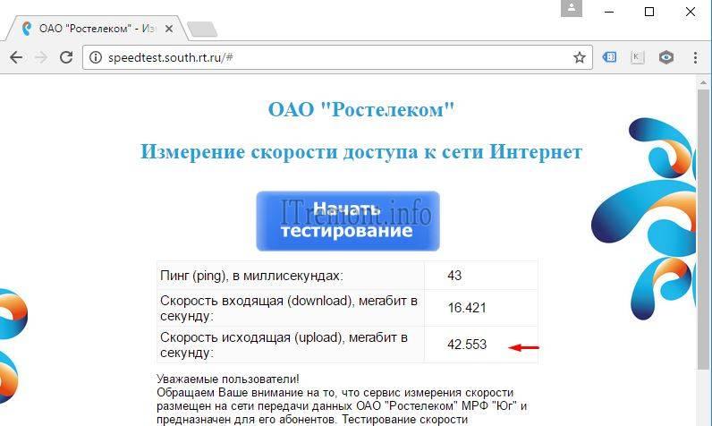 Результат проверки скорости интернета