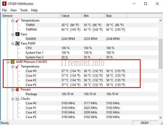 Температура процессора в HWMonitor